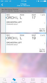 Blue man group tickets in New Orleans, Louisiana