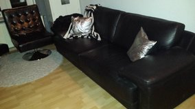 Couch black leather in Ramstein, Germany