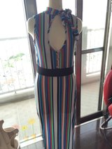 Stripe long dress with side slit in Okinawa, Japan