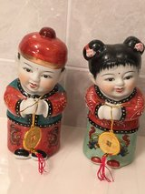 NEW Asian boy & girl figurines w/ good luck coins in Okinawa, Japan