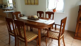 expandable dining table plus 6 chairs solid cherrywood in Ramstein, Germany