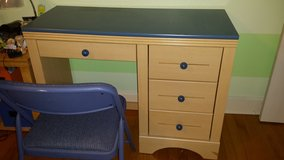 wood 4drawer desk and full size headboard with mattress set in Wilmington, North Carolina