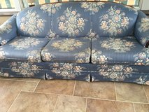 Blue and cream  3 seat sofa in Lakenheath, UK