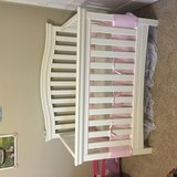 White convertible baby crib with mattress in Cleveland, Texas