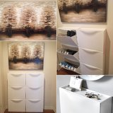3 shoes cabinet/storage (9 pieces)plus brown canvas wall paint. in MacDill AFB, FL