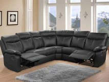 Crown Leather Recliner Sectional in Black & Dark Grey-DELIVERY ITALY - monthly payments possible in Vicenza, Italy