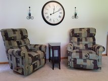 2 La Z Boy Recliners, end table and clock! in Naperville, Illinois