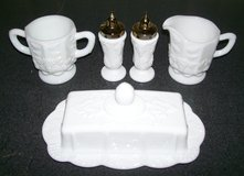 Milk Glass matching Salt Pepper Cream Sugar Butter Dish in 29 Palms, California