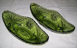 Vintage Green Heavy Glass Relish Set in 29 Palms, California
