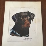 Antique signed print of Chocolate Lab in Conroe, Texas