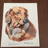 Antique signed print of dachshund in Conroe, Texas