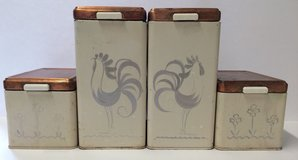 """4 PC. SET OF""""RANSBURG"""" VINTAGE """"ROOSTER"""" COPPER TOPS METAL CANISTER SET in Beaufort, South Carolina"""