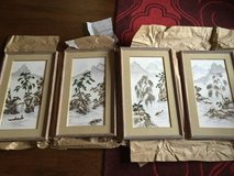 4 Large Japanese Hand Painted Porcelain Tile Art Work/ Signed and Stamped in Savannah, Georgia
