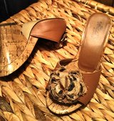 Tan leather wedge heels in Cleveland, Texas