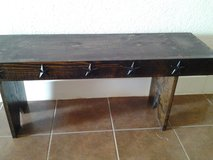 Dark Walnut Bench With Metal Stars on Front in Cleveland, Texas