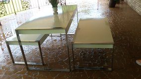White table with 2 matching benches in Dothan, Alabama