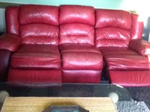 REDUCED - NEEDS TO GO BY THANKSGIVING Leather burgundy recliner sofa and love seat recliner in Naperville, Illinois