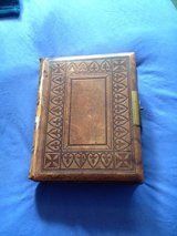 1875 Circa Leather Bound illustrated bible with brass clasp in Lakenheath, UK