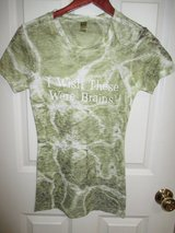 Womens S Kavio! Shirt ShortSleeve Cotton Green Camouflage Wish These Were Brains in Bolingbrook, Illinois