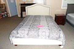 Queen ivory platform bed with mattress in Fort Knox, Kentucky