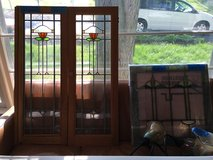 Pair of Leaded Bungalow Glass Windows in Chicago, Illinois