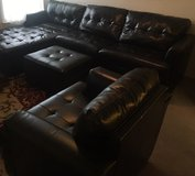 Dark Brown Leather Sectional, Ottoman and Chair in Lawton, Oklahoma