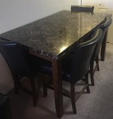 Marble Top High Table w/Leather High Back Chairs in Lawton, Oklahoma