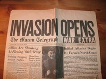 JUNE 6 1944 MACON TELEGRAPH NEWSPAPER    ALLIED INVASION in Warner Robins, Georgia