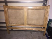 Headboard Full size solid wood with tan suede squares in Jacksonville, Florida