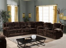 "Combination Living Room Set  ""Bruce"" dark brown Micro-Fiber - see VERY IMPORTANT below in Spangdahlem, Germany"