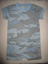 New!! Kavio! Toddler Boys One Piece Romper 12m Camo Blue Gray Camouflage Cotton Summer in Plainfield, Illinois