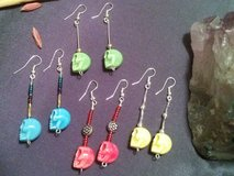 SET OF 4 Classy Handmade Multi Colored Stone Skull Earrings in Barstow, California