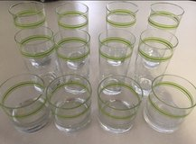 Set of 12 retro drinking glasses green rim in Moody AFB, Georgia