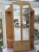 Solid wood closet / wardrobe - with mirror, hooks and shoe holder in Ramstein, Germany