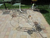 Bicycle Planter in White Metal with Room for 3 Container Plants; Cute Garden Accent in Algonquin, Illinois