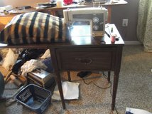 Sears Cabinet Model Sewing Machine w/Boxes & Boxes of Material in Fort Lewis, Washington