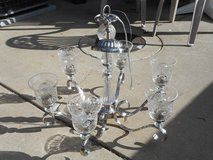 Etched Crystal  & Brushed Nickel 6 light Chandelier in Naperville, Illinois