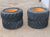 Case 1845C Skidsteer Bobcat Wheels And Very Used Tires, For Use AS Spares / Recap in Fort Leonard Wood, Missouri