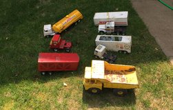 Old metal Tonka trucks in Fort Drum, New York
