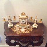 French Clock Fire guilded and Marber with Candleholder from 1850 in Baumholder, GE