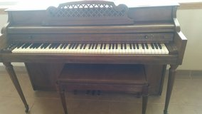 Kimball Player Piano with box of music rolls in Alamogordo, New Mexico