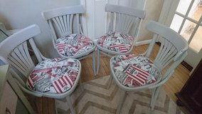 Pale Grey Painted Dining Chairs With Retro Magazine Themed Seat Pads in Lakenheath, UK