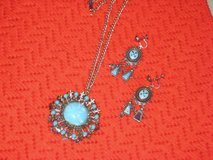 Turquoise necklace and screwback earrings in Spring, Texas
