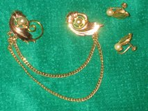 Vintage sweater guard and earrings in Houston, Texas