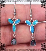 New - Blue Fire Opal and Rainbow Topaz Earrings in Alamogordo, New Mexico