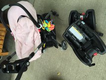 Hardly used Graco infant car seat, click and connect stroller, and 2 car bases in Aurora, Illinois