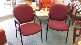 (2) Globe Matching Burgundy Fabric Padded Seat & Back Stack Chairs in Naperville, Illinois