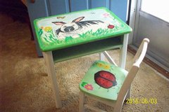Vintage Childs School Desk and Matching Chair, Refinished and hand painted in Goldsboro, North Carolina
