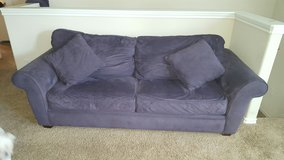 Couch/Bed-mircrofiber-eggplant color-with hideaway bed in Tomball, Texas