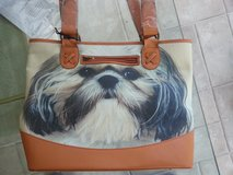 Dog Lover's Leather-Trimmed Tote Bag in Naperville, Illinois